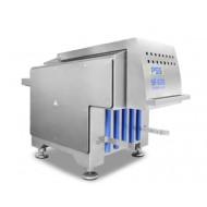 Блокорезки PSS, SF 620 - производительность 6 000 кг/час, мощность 11 кВт, температура продукта - 25ºC габариты камеры загрузки 600х400х200 мм, подключение к сети 3/PE/N, 50Hz  400 V, кожух безопасности -режущего барабана, с фотоэлементом, откидной стол, с фотоэлементом,частью оборудования является барабан с 7-ю регулируемыми ножами, стандартно оборудование измельчает на 3 толщины. Вариант A на 3/6/9 мм а вариант B на 14/17/20 мм. Замороженные мясные блоки, другой продукт подаётся на стол PSS SF, стол откидной, и автоматом продвигается к режущему барабану. Важен момент с постоянным положением мясного блока. Прижимное устройство обеспечивает оптимальное положение блока для осуществления полного и качественного измельчения. Блокорезка PSS SF показывает высокую производительность, благодаря дизайну режущего барабана, он измельчает и перерабатывает блоки размером 600x400x200 мм. На режущем барабане размещены 7 ножей, толщину резки, т.е. зазоры можно изменять в зависимости от наших потребностей. агроконтинент, купить, цена, стоимость, скидки.